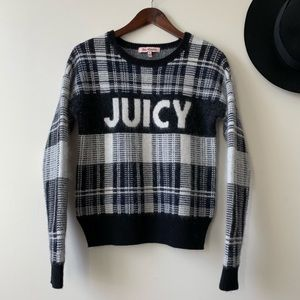 Juicy Couture Wool + Rabbit Hair Plaid Sweater